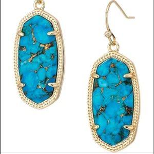 Kendra Scott Elle Earrings Bronze Veined Turquoise